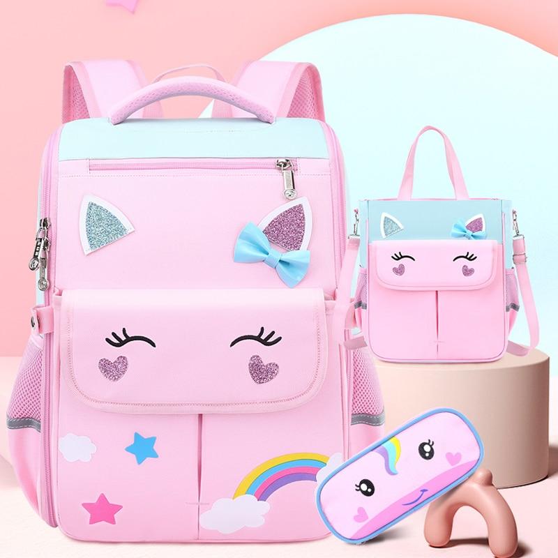 Ортопедический школьный ранец для девочек, детский рюкзак для начальной школы, милый школьный портфель 1 класса