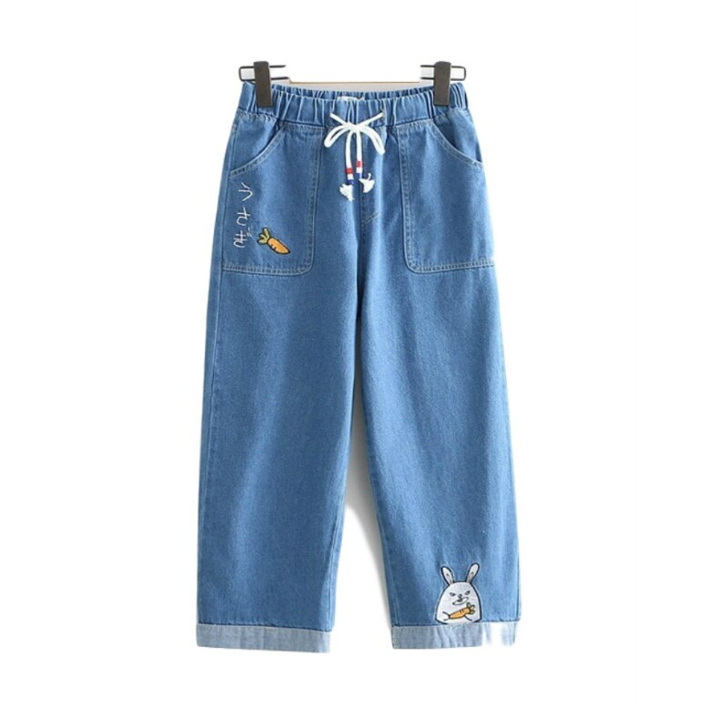 Merry Pretty Ripped Jeans women rabbit carrot embroidery funny loose denim pants female elastic waist baggy autumn trouses