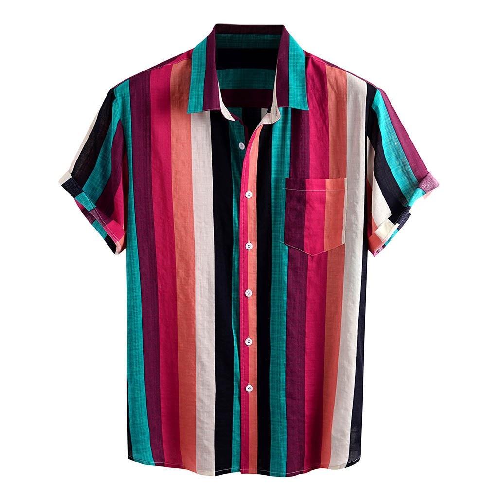 De verano a rayas impreso camisa de los hombres 2020 de manga corta Casual alta calle giro-abajo Collar de Tops de moda para hombre Camisas hawaianas playa