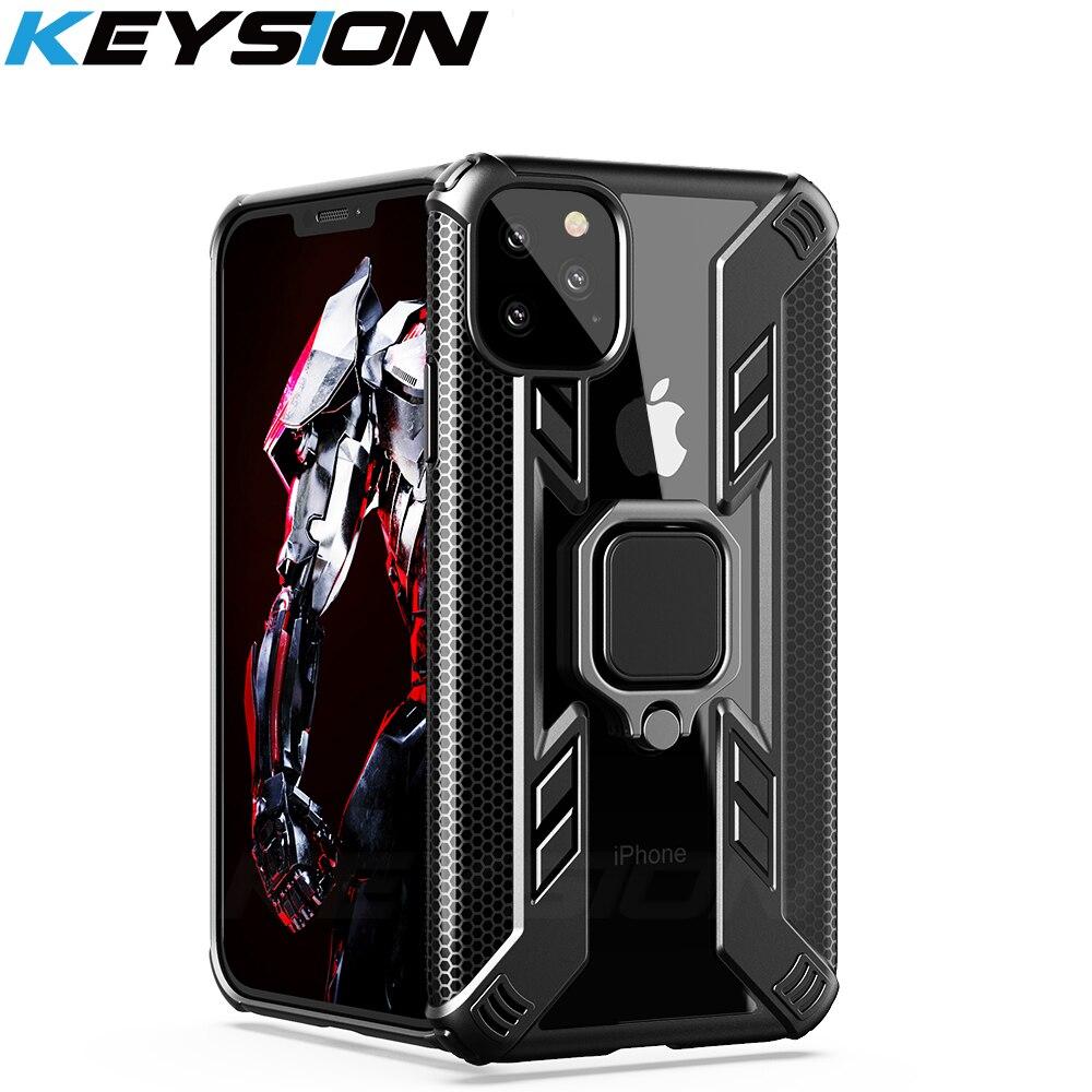 KEYSION, armadura a prueba de golpes para iPhone 11 11 Pro Max i11 Pro, funda con soporte para coche, anillo, funda de teléfono para iPhone XS Max XR X 8 7 Plus