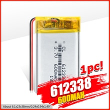 1/2/4 pcs 612338 리튬 폴리머 배터리 3 7v 볼트 리튬 이온 lipo 3.7v 600 mah 충전식 배터리 dvd gps 네비게이션
