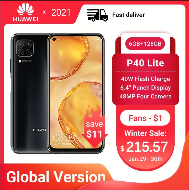 Перейти на Алиэкспресс и купить HUAWEI P40 Lite смартфон глобальная версия 6 ГБ 128 48MP AI Quard камера 6,4 дюймFHD экран Kirin 810 Octa Core 40 Вт быстрой зарядки