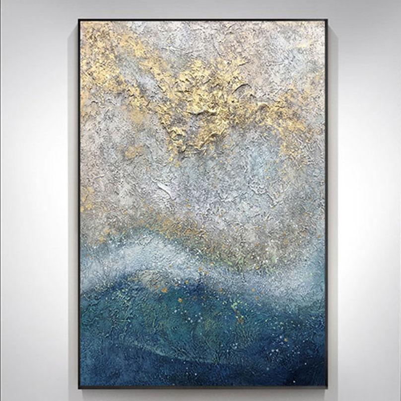 Hecho a mano azul de Aceite de oro pintura sobre lienzo cósmica pintura nebulosa abstracto paisaje pared foto Decoración Para sala de estar, arte regalo