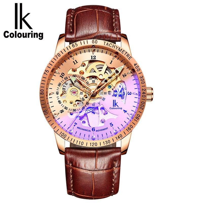 ساعات معصم ميكانيكية أوتوماتيكية من IK Colouring للرجال ساعات فاخرة بهيكل عظمي للرجال ساعات ياقوت للرجال