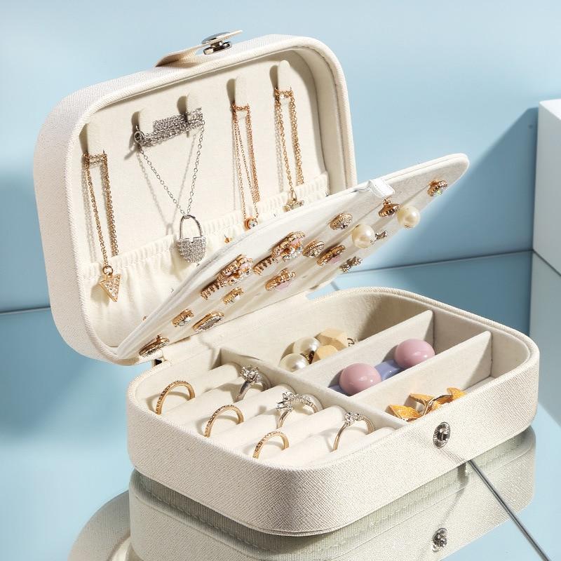 Двухслойные портативные ювелирные изделия коробка для хранения коробка серьги кольцо коробка ювелирных изделий для декоративного хранени...
