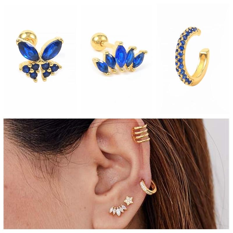 Aide 925 Silver 2021 Trend Luxury Blue Earrings For Women Butterfly Cartilage Ear Bone Buckle Piercing Delicate Jewelry Bricons