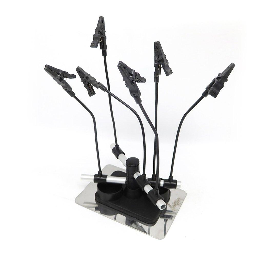 Seis Clips de cocodrilo soporte pistola de espray partes soportes aerógrafo accesorios de herramienta cabina de pintura aerógrafo Hobby soporte de pieza de modelo