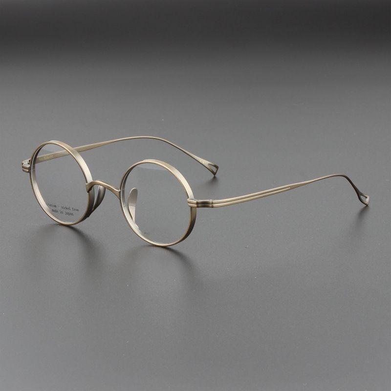 اليابانية اليدوية جون لينون الجولة التيتانيوم النقي نظارات إطار الرجال وصفة طبية النظارات النساء Vintage قصر النظر النظارات البصرية