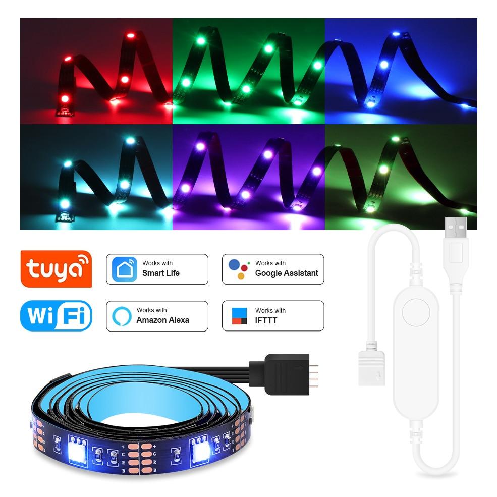 AliExpress - Wifi USB Led Light RGB SMD 5050 Flexible Strip Light Tuya Smart Home TV Back Lighting Work With Alexa Google Home