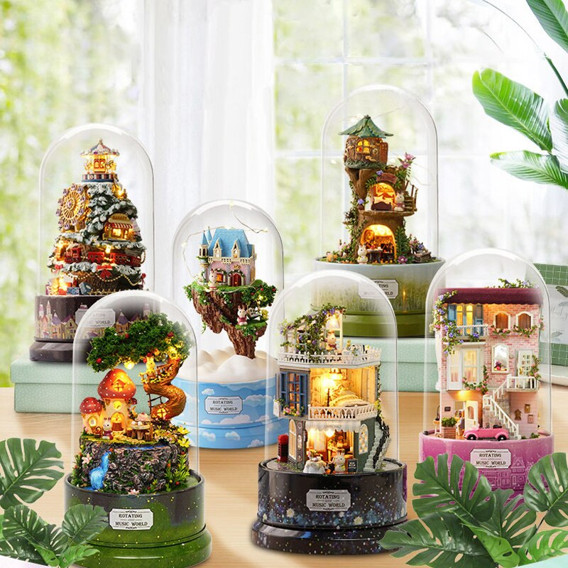 New Furniture Doll House DIY Dollhouse Rotate Music Box Miniature Assemble Kits Doll House With Furn