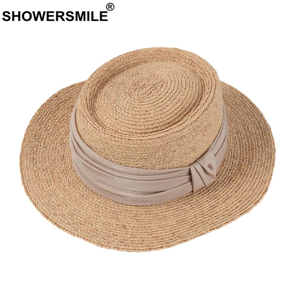 SHOWERSMILE Porkpie rafia Sombrero de paja para mujer Sombrero de sol estilo británico Sombrero de fieltro de mujer ala ancha Sombrero de verano de nueva marca 2020