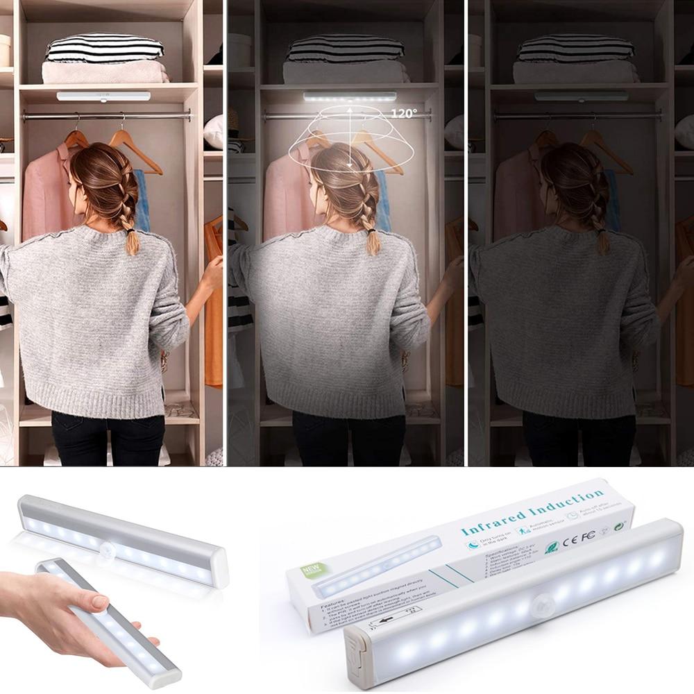 Wireless Lamp Battery Led Light With Motion Sensor Under Cabinet Light Kitchen Lighting For Home Bedroom light Led Closet Colors