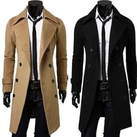 mens windbreaker jacket new fashion designer mens long jacket autumn and winter double breasted windproof slim fitting