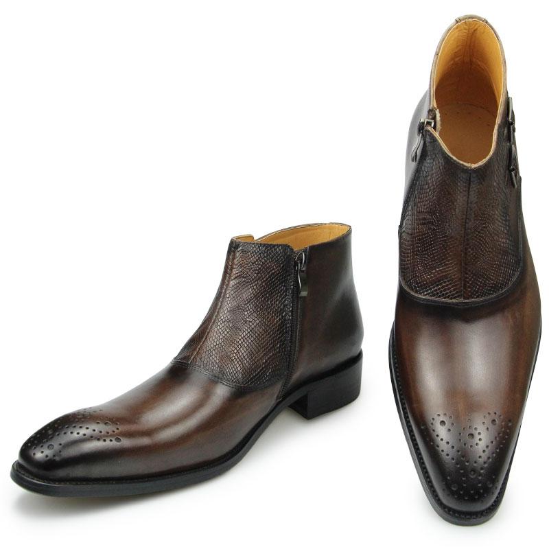 شتاء جديد رجل الكاحل الجلود سستة الأحذية الفاخرة والعمل والسلامة الرسمي موضة أحذية مصممين حجم كبير 39 إلى 46 القهوة السوداء