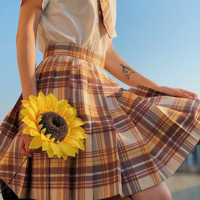 NiceMix Corea tiktok ropa Mini faldas a cuadros mujeres Ropa de talla grande cintura alta a-line faldas mujer moda verano kawaii falda