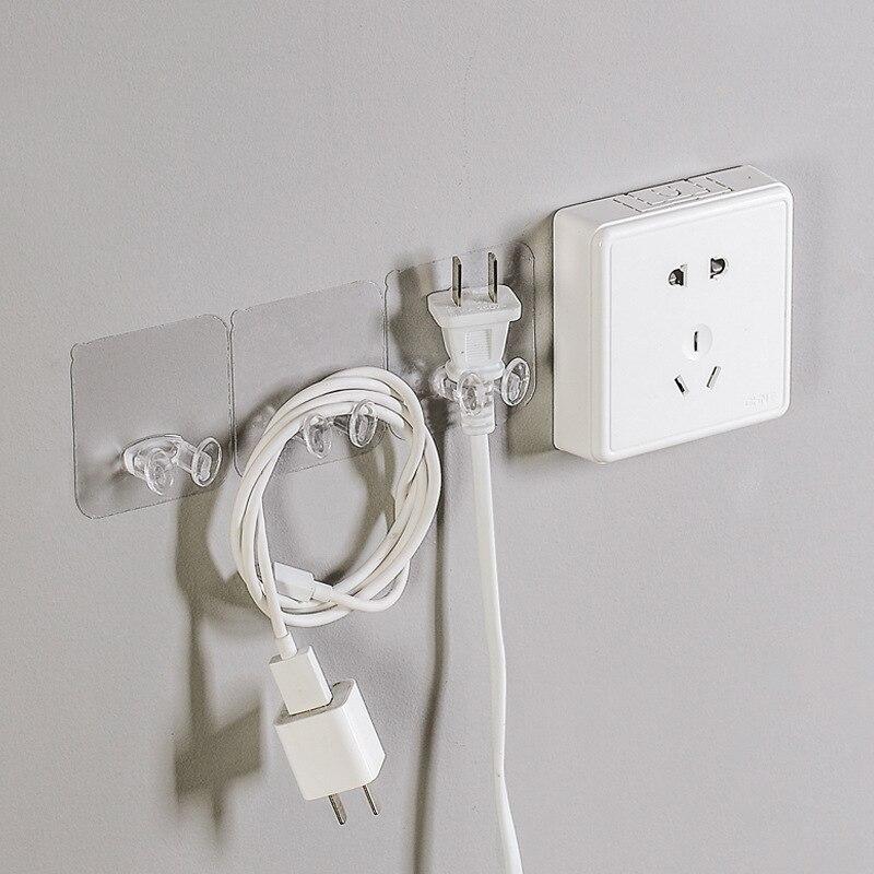 Gancho de almacenamiento enchufe de pared adhesivo fuerte 2 uds soporte de pared percha adhesiva soporte de teléfono ganchos de almacenamiento multifunción