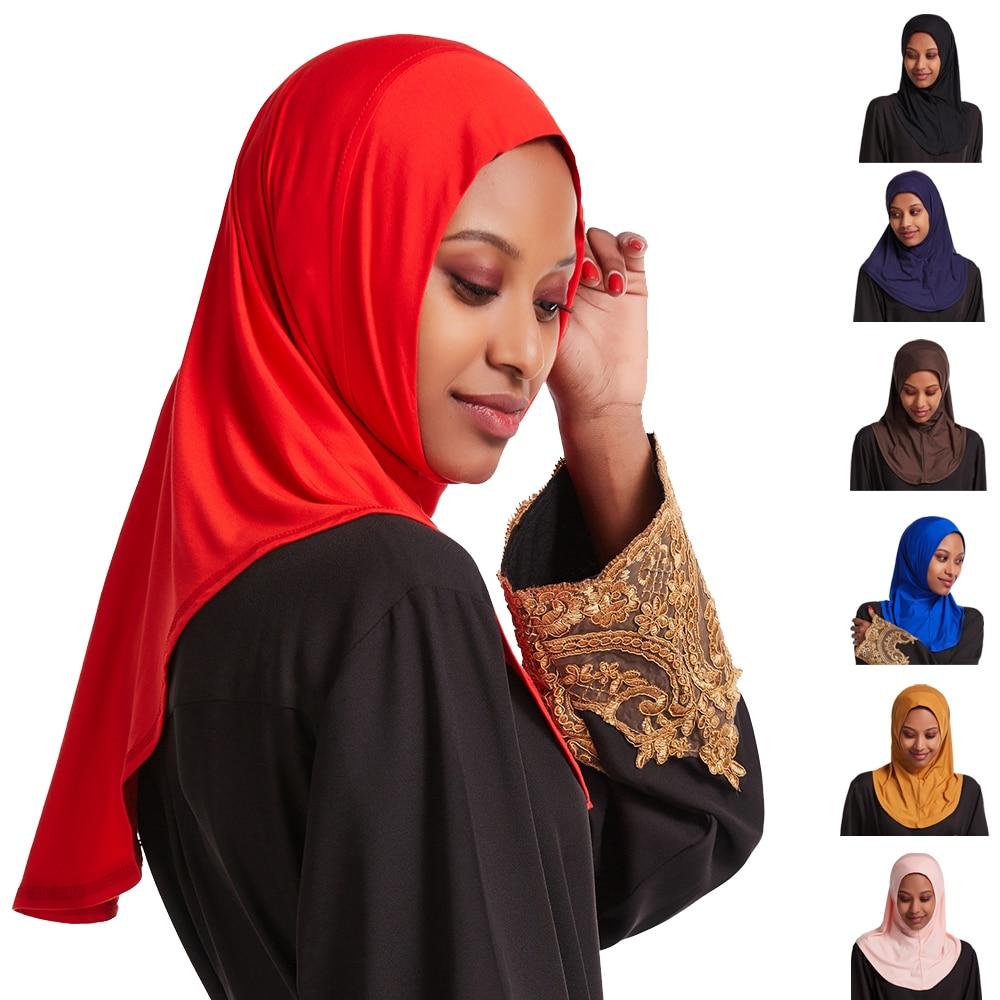 Uma peça amira hijab muçulmano lenço turbante imediato pronto para usar lenço envoltório xale niqab islâmico mulher headwear tampas completas