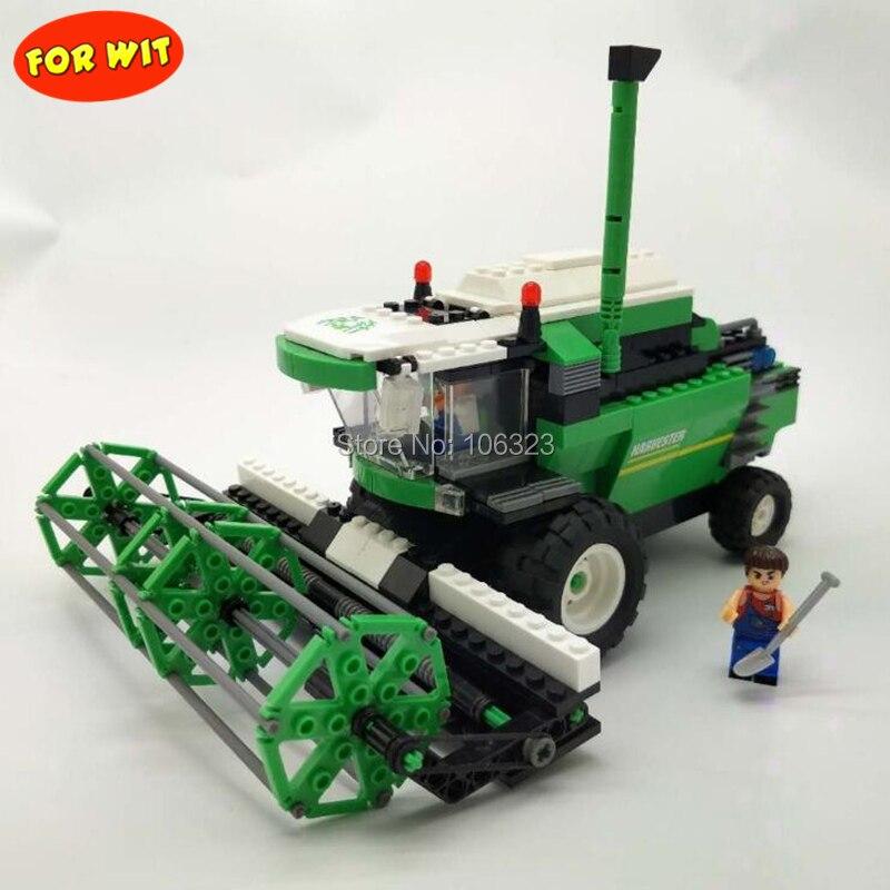 Juguete para niños mayores, Happy Farmer Toyshop, 2 en 1, cosechadora combinada de bloques de pueblo, modelo ensamblado educativo de 362 piezas