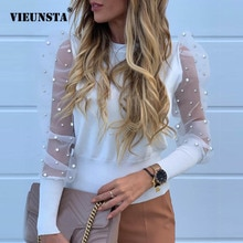 Новинка, Женская сетчатая прозрачная блузка, прозрачная блузка с длинными рукавами, модная прозрачная белая блузка с жемчугом, женские блузы, Осенние Топы