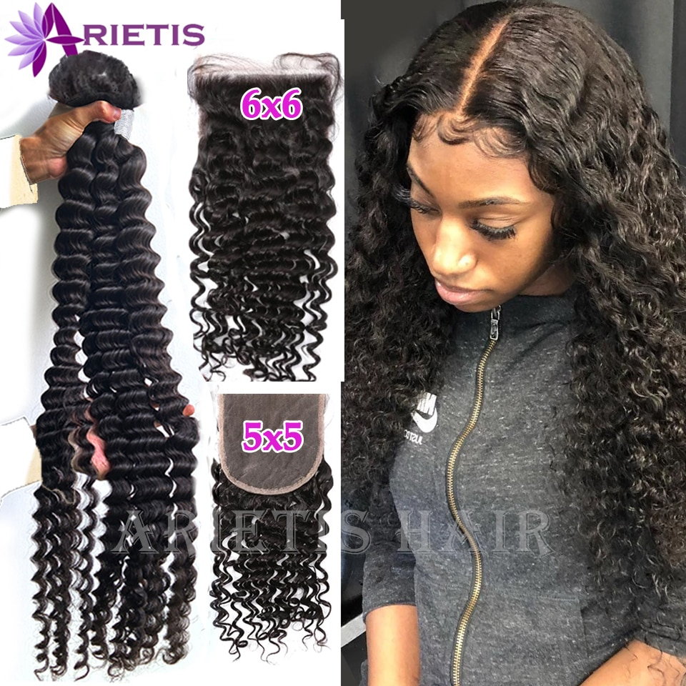 40 inches Deep Wave Bundles With 5x5 6X6 HD Closure Indian Remy Human Hair Bundles With Frontal Water Curly & 4x4 Lace Closure