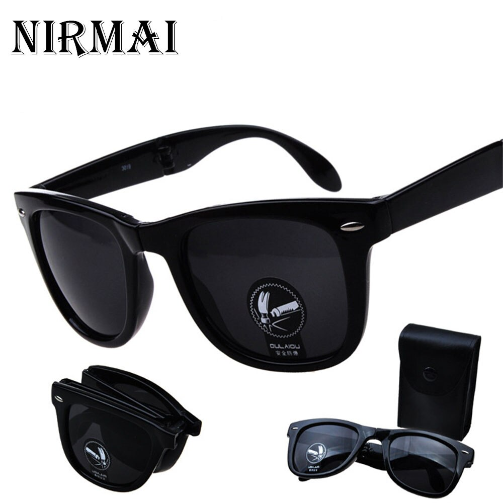 Складные очки, брендовые дизайнерские зеркальные солнцезащитные очки, складные солнцезащитные очки UV400, мужские и женские очки с чехлом