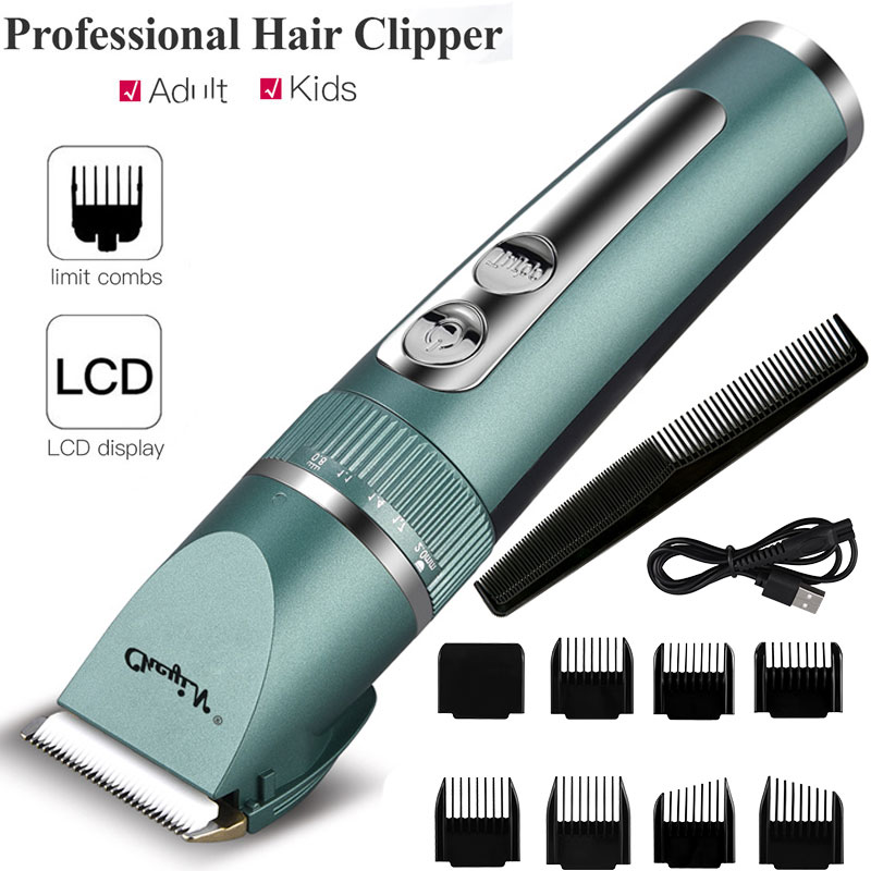 Professional Hair Clipper Men Barber Rechargeable Beard Trimmer Ceramic Blade Hair Cutting Machine Low Noise Haircut Adults Kids enlarge