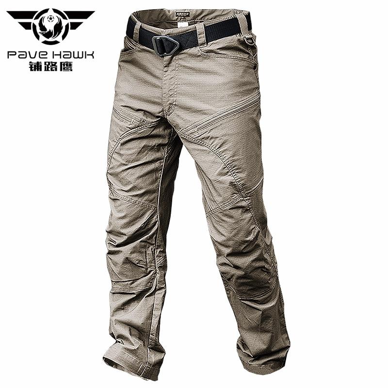 Мужские камуфляжные брюки-карго в стиле милитари, цвета хаки