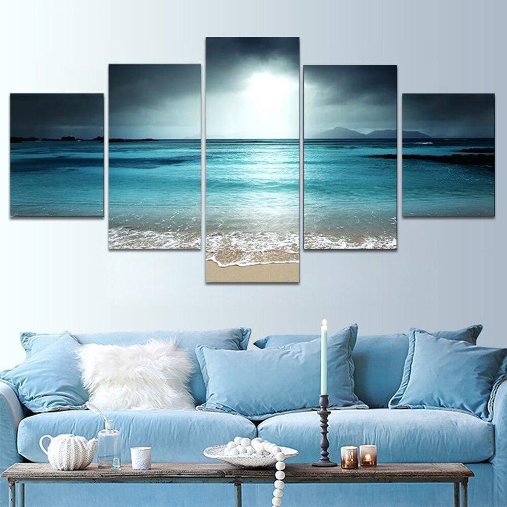 Lienzos de puesta del sol en la playa pintura de pared arte marino 5 paneles modulares carteles fotos lienzo playa Living decoración del hogar moderno