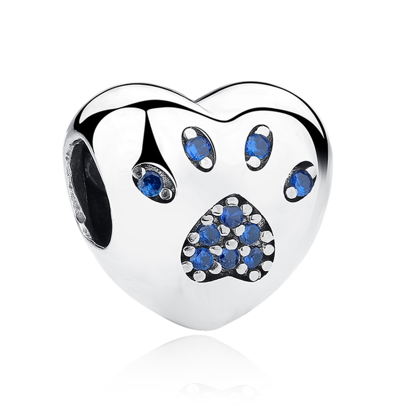 BOFUER Bule Claw Charms Cute Dog Cat Beads Fit 925 Silver Pandora Bracelets For Women Making Jewelry 157B