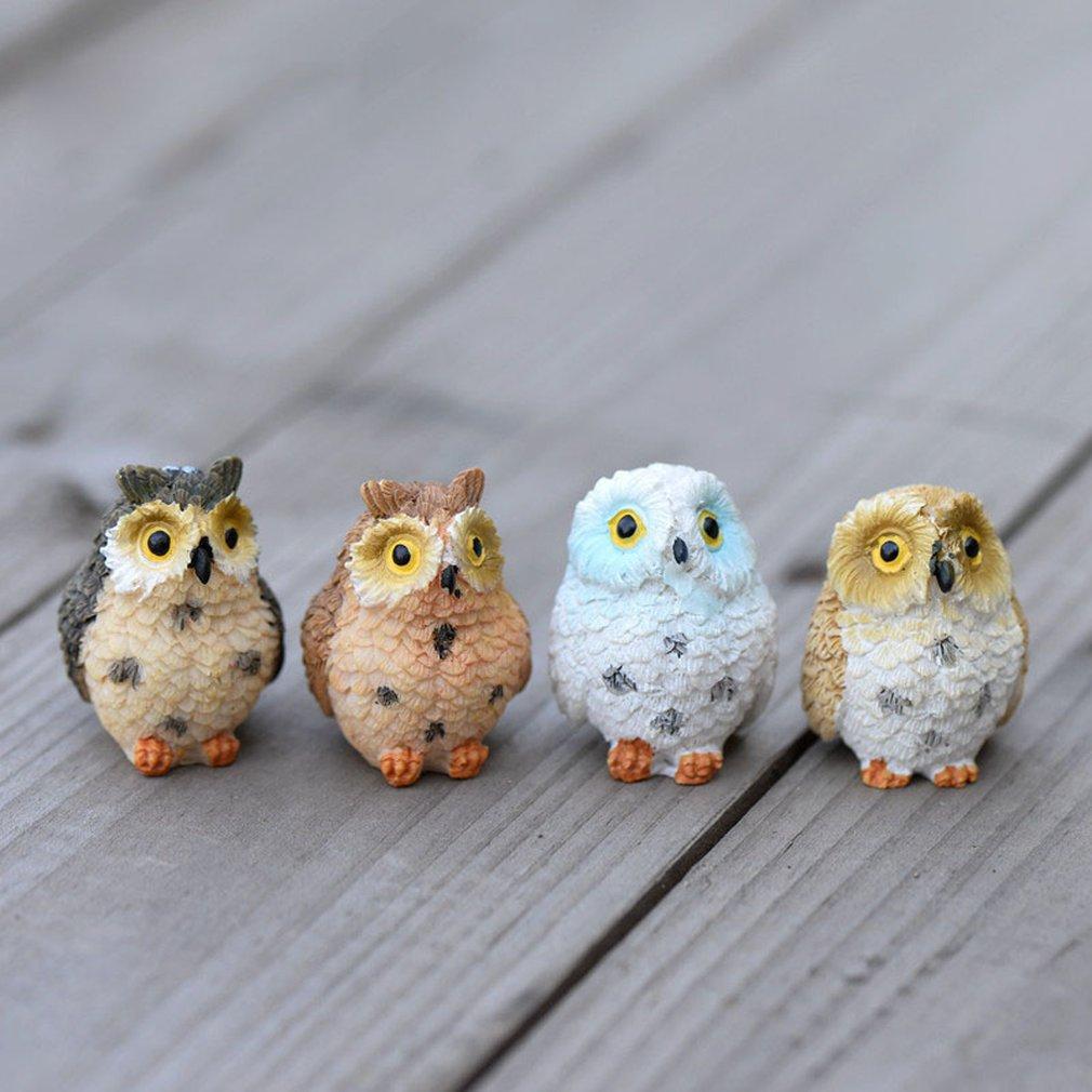 Micro paisaje Peluche de búho resina jardín casero de hadas decoración Micro ornamentos decoración pájaros figuras en miniatura