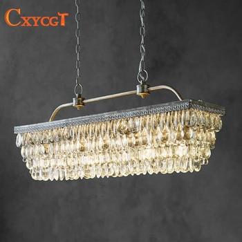 Retro rectangular chandelier LED lighting modern crystal drop chandelier creative personality chandelier
