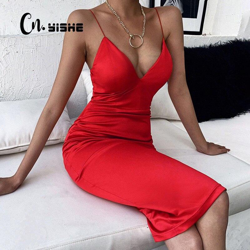 CNYISHE Elegant Satin Dresses for Women Solid Red Black Midi Dress 2020 Fashion Winter V-neck Ladies Christmas Dress Party Night