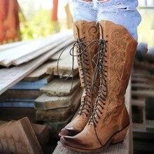 Kadın diz yüksek çizmeler gladyatör tıknaz yüksek topuklu sıcak ayakkabı patik vintage PU deri yuvarlak ayak dantel kadar ayakkabı botas mujer h121