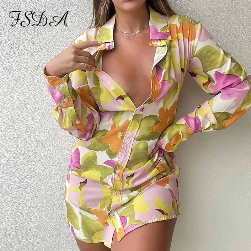 FSDA 2021 Floral Print Long Sleeve Shirt Dress Women V Neck Spring Summer Mini Sexy Beach Casual Bodycon Party Dresses