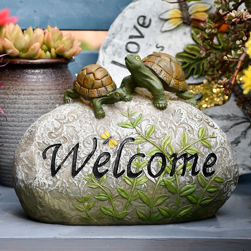 Garden Balcony Scenery Courtyard Layout Snails Stone Welcome Solar Ornaments Outdoor Resin Sculpture Figurines Crafts Decoration