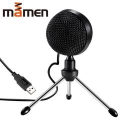 Mamen microfone condensador usb 360 graus, microfone de mesa com tripé min, omnidirecional para reuniões