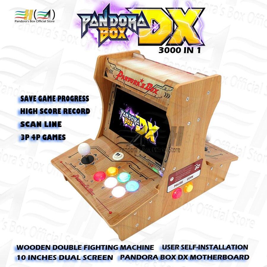 Pandora Box DX 3000 в 1, деревянный двойной файтинг, мини-аркадный бартоп, самоустановка, поддержка fba mame ps1 3d