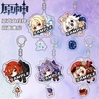 china anime keychain genshin impact venti paimon player diluc klee man key chain for womens cute bag pendant key ring gift