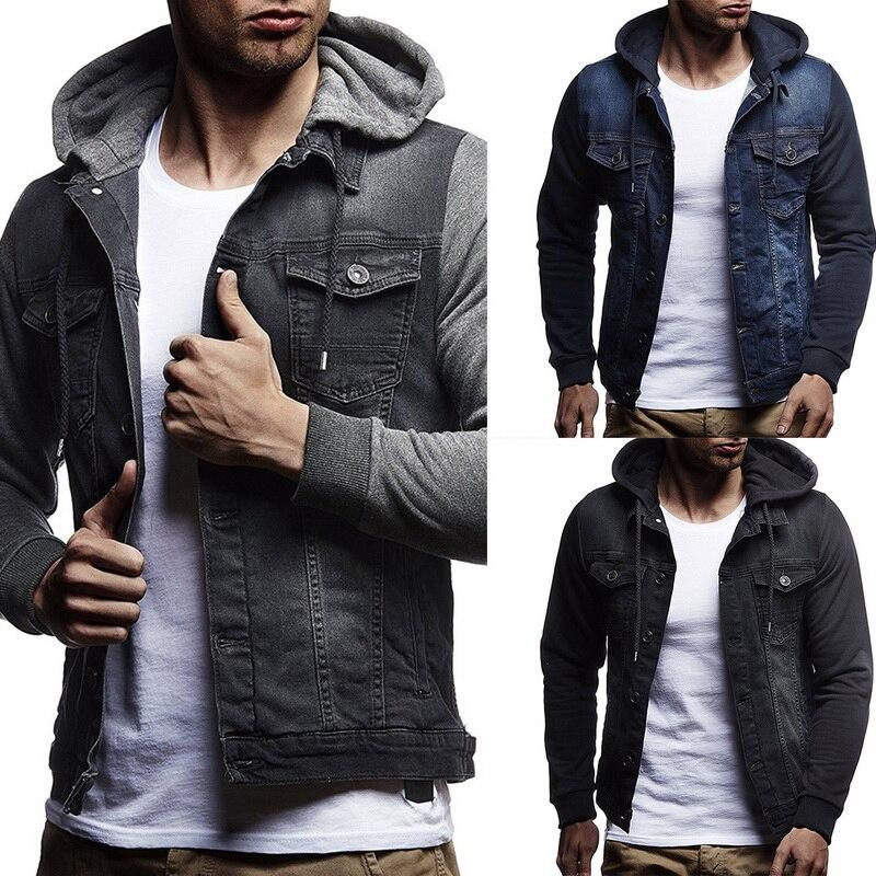Мужская джинсовая куртка с капюшоном, Повседневная Уличная спортивная куртка из денима, ковбойская Мужская куртка с капюшоном для фитнеса, ...