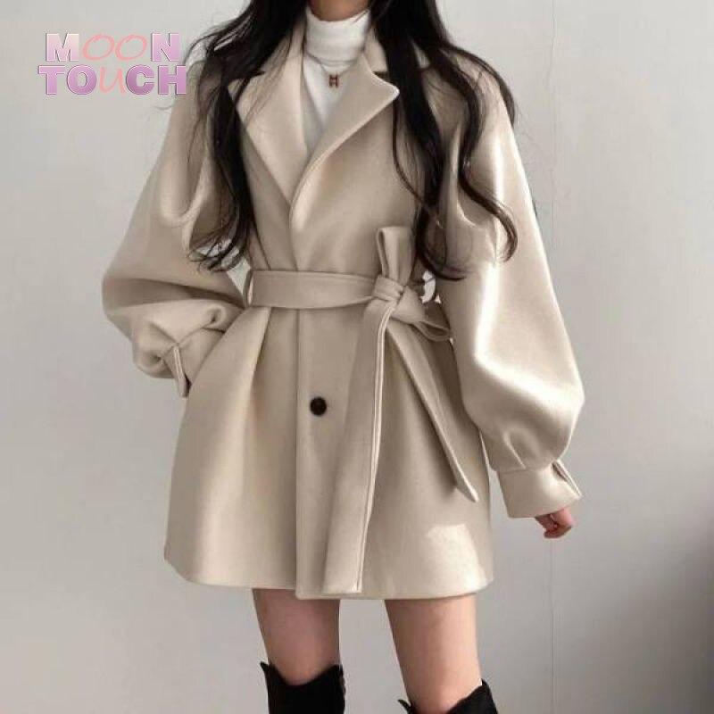 Осенне-зимняя одежда свободного покроя с пузырьковыми рукавами облегающая одежда Riem Jassen Vrouwelijke теплый V-hals Офисная Женская одежда