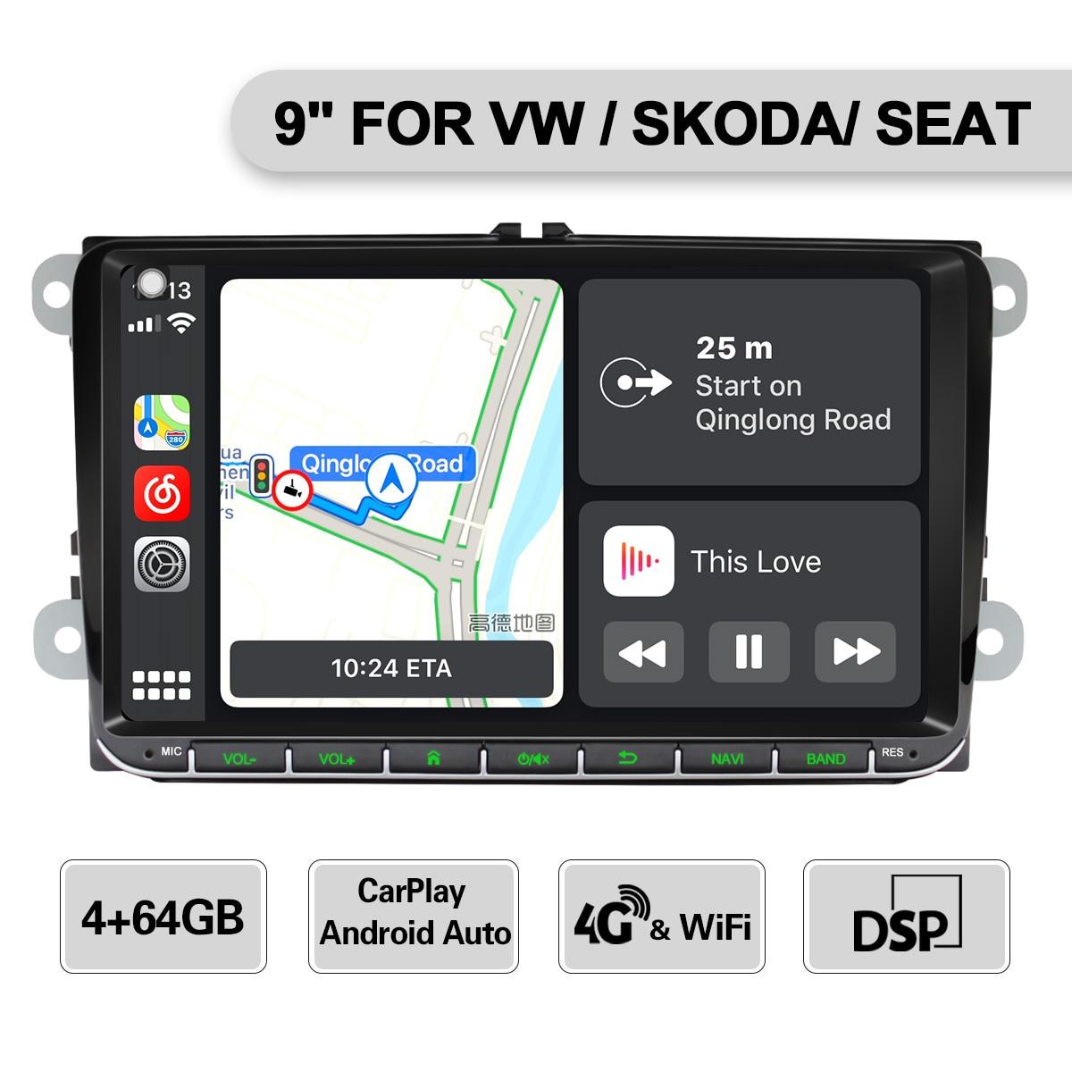 Android 8,1 Car radio estéreo para VW Skoda Octavia golf 5 6 touran passat B6 jetta de Tigua de polo jugador con carplay/android auto