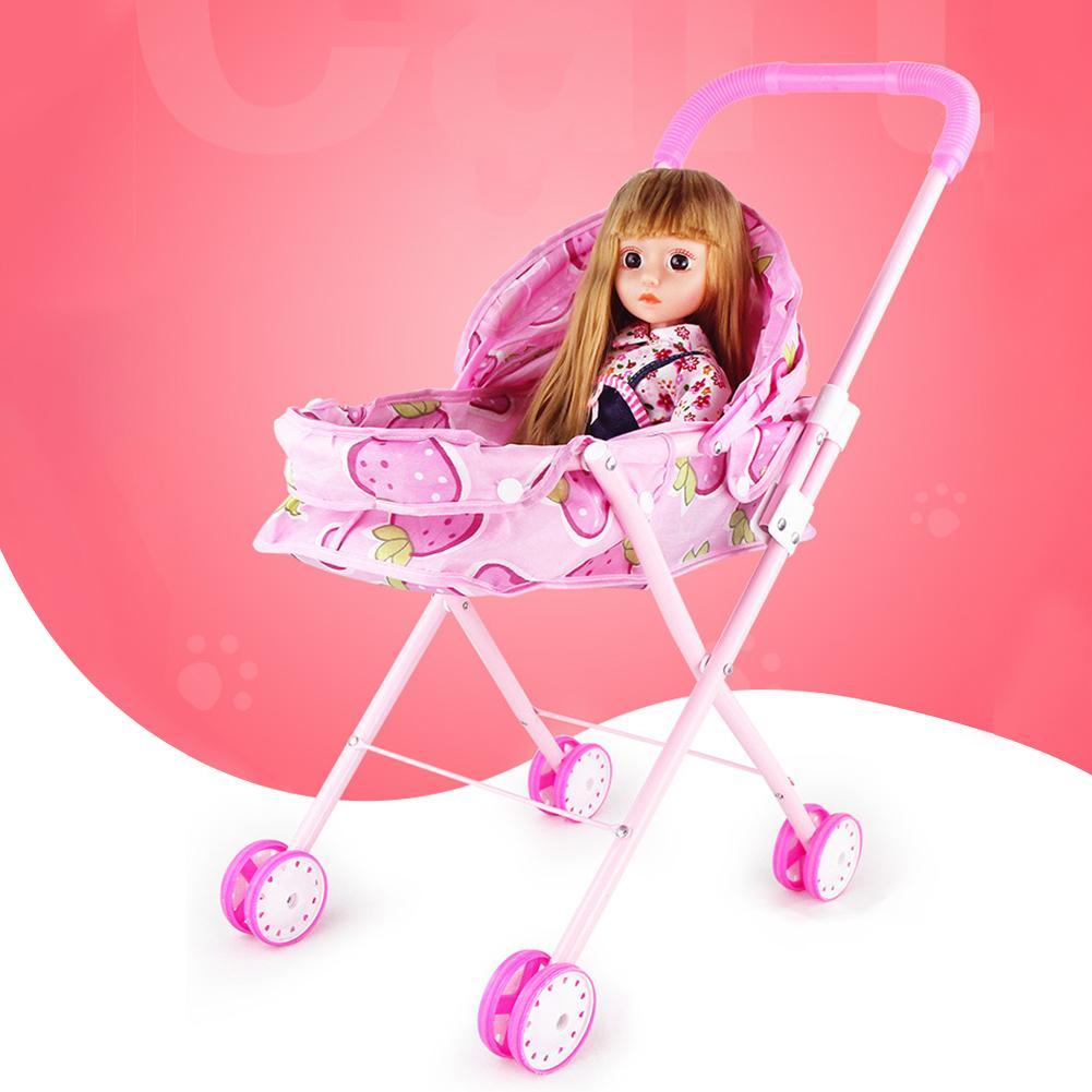 Carrito de bebé rosa, casa de muñecas en miniatura, muebles para accesorio para muñecas, juguetes para niños