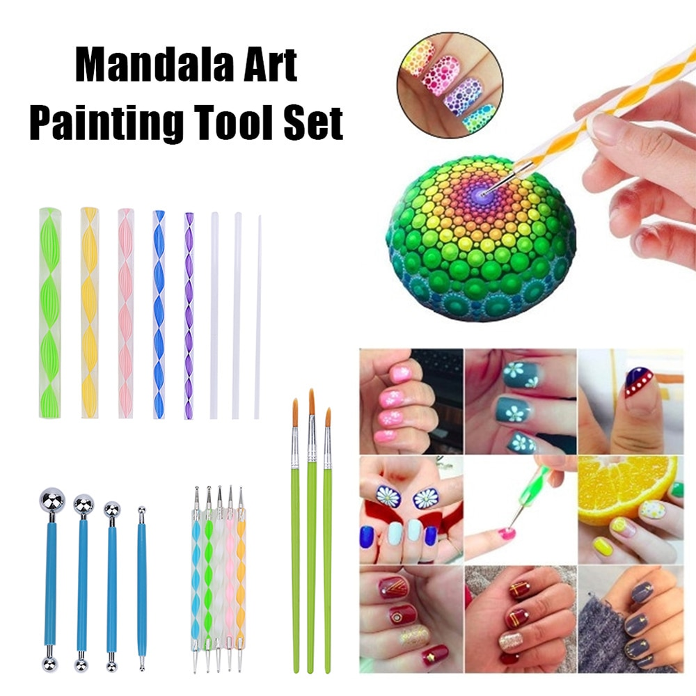 36pcs Mandala Dotting Templates Stencil Tools Set for DIY Painting Drawing Drafting Art Craft Projects Canvas Rocks Fabrics Art
