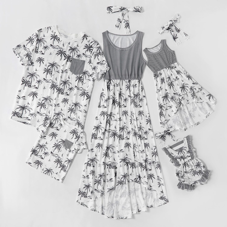 طقم صيفي مناسب للعائلة لعام 2021 فستان للأم والبنت ثوب فضفاض للأطفال من قميص الأب والابن ملابس عائلية