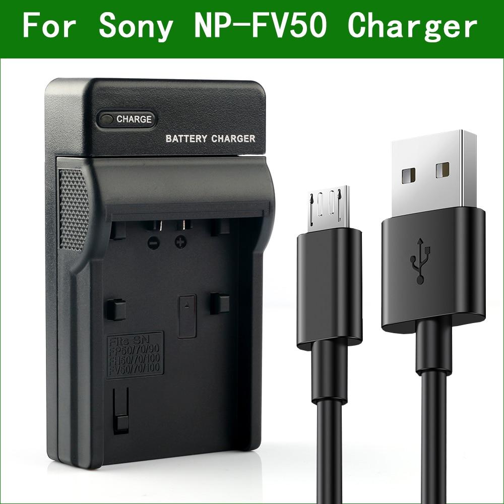 LANFULANG NP-FV50 cargador de batería Micro USB para Sony DCR-SR88 DCR-SX15 DCR-SX20 DCR-SX21 HDR-CX700 HDR-CX350 HDR-CX360