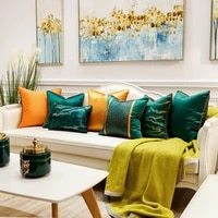 luxury chinese style dark green orange modern throw pillow cases striped cushion covers for sofa bedroom living room cars