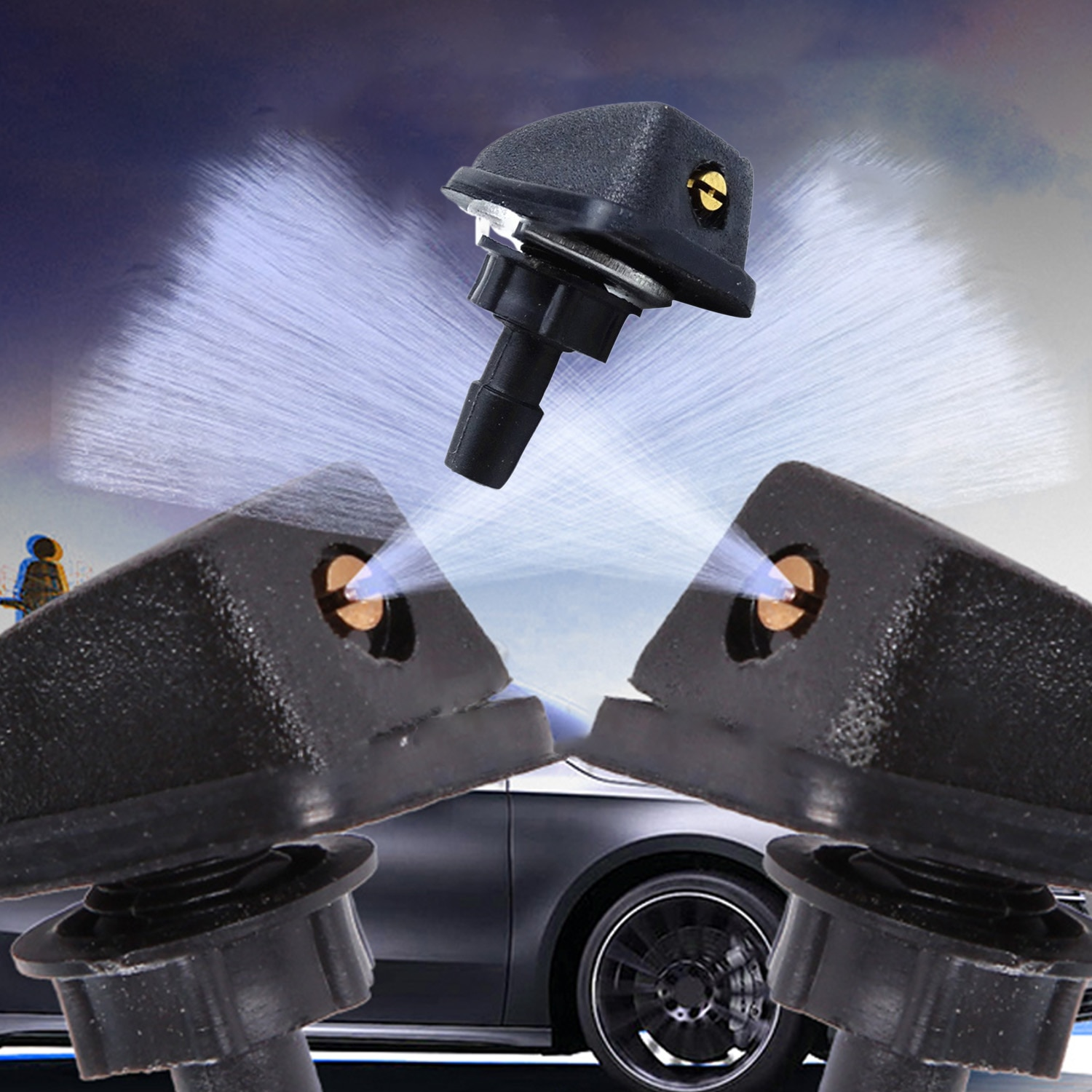 1/2Pcs Car Water Spray Nozzle Vehicle Front Windshield Washer Fan-Shaped Water Spout Nozzle Auto Accessories Dropshipping