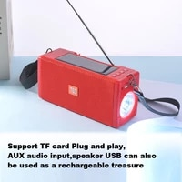 2020 new tg188 wireless solar charging outdoor multi function fm radio stereo bluetooth speaker with led flashlight support tws