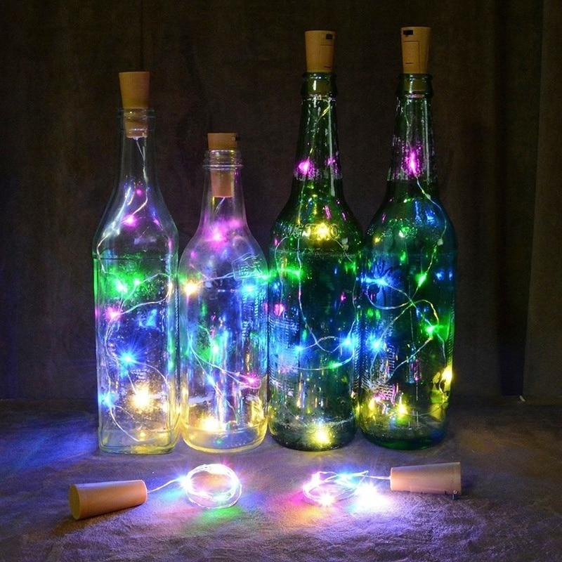 Cadena de luces LED de cobre ligero, luces de corcho para botellas de vino, luces de Hada para exteriores para decoración de fiestas de Navidad y bodas