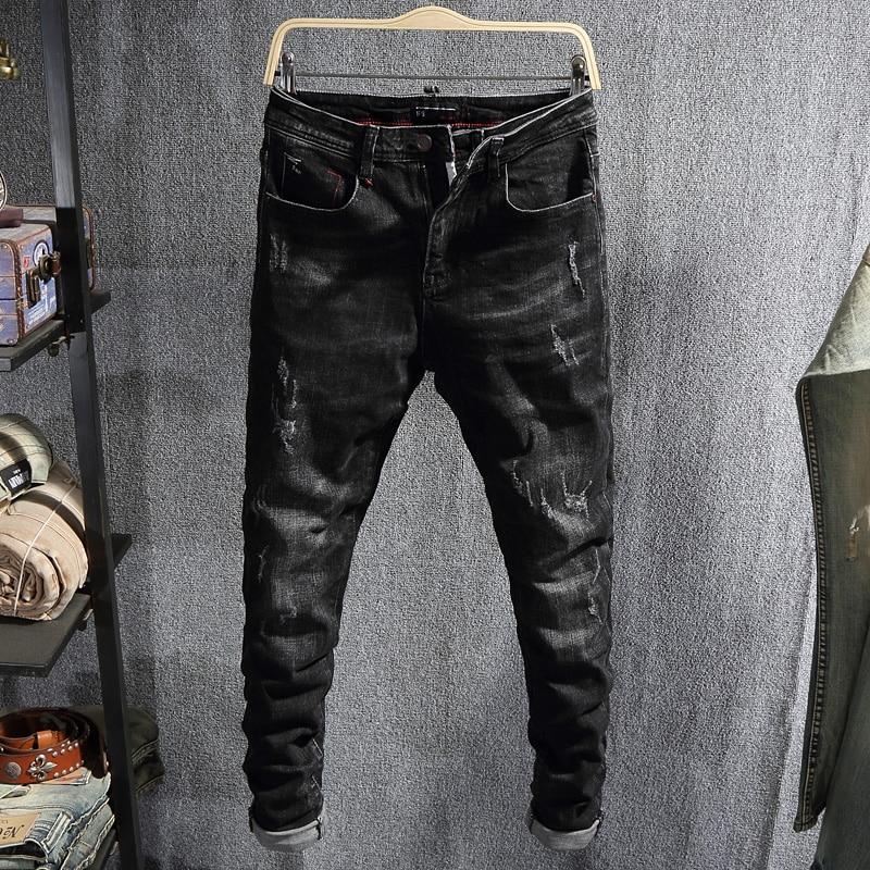 Модные мужские джинсы в Корейском стиле, Черные Эластичные зауженные рваные джинсы в стиле ретро, европейские винтажные Дизайнерские повсе...